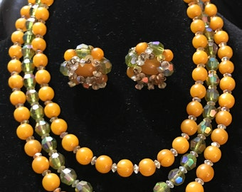 Hobe Demi Parure Butterscotch and Green Crystal 3 Strand Necklace