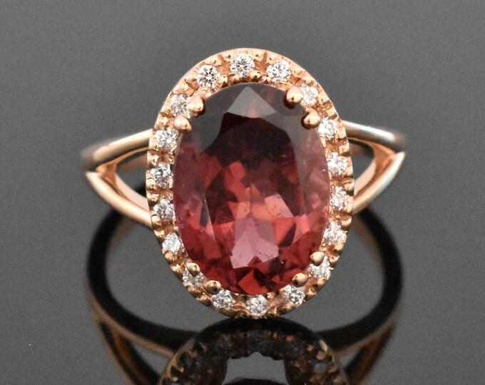 14K Rose Gold Rubellite Tourmaline & Diamond Ring | Engagement Ring | Wedding Ring | Diamond Halo | Handmade Fine Jewelry | Anniversary Ring