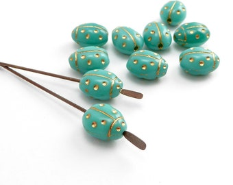 Turquoise Ladybird Czech Glass Beads, (10 pcs) 9x7mm Lady Bird Beads, Lady Bug Beads, Ladybug Beads, Insect Beads, Nature Beads ANM0114