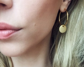 Creole Gold plated brass, earring with small matte tile. Ring. Hoops LemonandPink