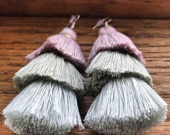 Pastel Tassel Statement Earrings