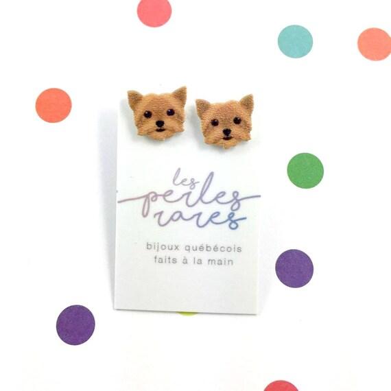 yorkshire terrier, brown, dog earring,dog,  hypoallergenic, plastic, stainless stud, handmade, les perles rares