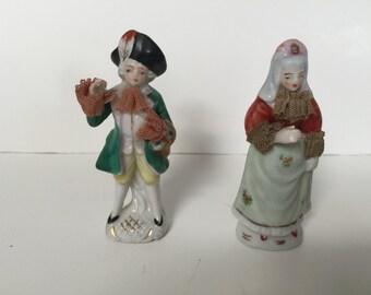 Vintage Porcelain Colonial Couple with Lace Japan