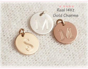 14Kt Gold Initial Charm, Real Gold Charm, Solid Gold Charm,  Initial Necklace, Disc, Monogram, Real Gold Initial,  Pendant, Personalized