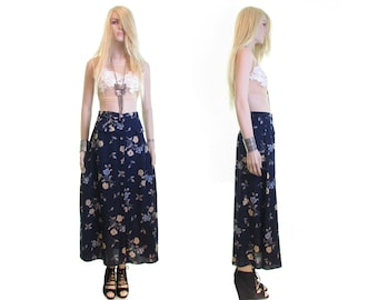 wildflower skirt floral skirt skirt for women 90s grunge skirt high waisted skirt grunge clothing vintage 90s skirt navy blue maxi skirt m