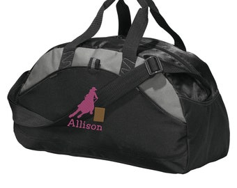 Personalized Rodeo Barrel Racing Duffel Gym Bag - Embroidered.  Barrel Racer Duffle Gym Bag. Personalized Rodeo Gym Bag. SM-BG1070