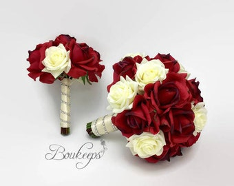 Choose Ribbon Color - Red and White / Ivory Rose Bouquet, Red Bridal Bouquet, Real Touch Bouquet & Boutonniere, Bridal