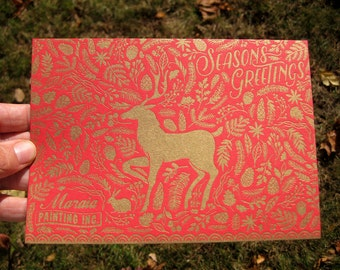 Custom Unique Letterpress Holiday Card, Customizable with your company logo