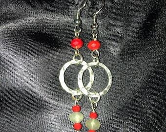 Grey and red dangle earrings