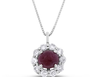 3.13 CT Diamond & Oval Cabachon Ruby Halo Pendant with Chain in 14k White Gold