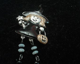 Painted Pewter Articulated Cute Witch Booch With Beaded Legs