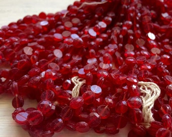 Vintage Glass nailhead beads round Crimson Red 5 mm faceted doll buttons Valentines Red 24 x beads