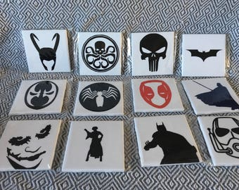 Hero and Villains ceramic coasters- DC, Marvel and More