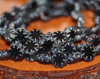 Czech Glass Beads, 9mm Cactus Flower Beads, 25 Beads