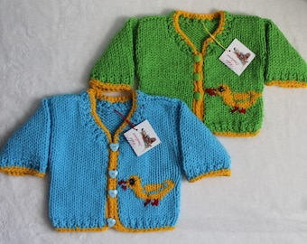 Hand-Knit Blue and Yellow Duck Easter Sweater Cardigan for Infants and Babies, Acrylic.