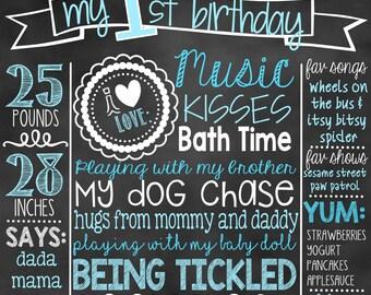 First Birthday Chalkboard | 1st Birthday Chalkboard Sign | First Birthday Chalkboard Boy | Birthday Chalkboard Poster, Chalkboard Poster