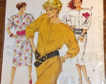 Woman's World 20 526 Vintage 1980s Sewing Pattern Power Dress Shirtdress Women's Size 10 12 14 16 18 20 Bust 32 34 36 38 40 42 Sealed UC FF