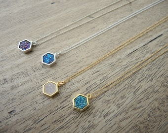 Druzy Necklace, Druzy Hexagon Bezel Pendant Necklace, 14K Gold Filled Necklace, Sterling Silver Necklace, Druzy Jewelry Gifts For Her