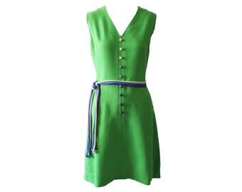 Vintage Strelitz Ireland Green and Purple Linen Summer Dress 1960s