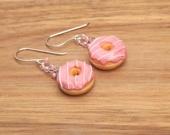 Pink Donut Earrings - Sterling silver - Candy Jewelry - Miniature Food Jewelry, food jewelry, donut jewelry , kawaii donut