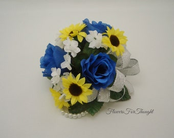 Royal Blue Rose Mini Sunflower Corsage, Wedding, Prom, Homecoming Gift