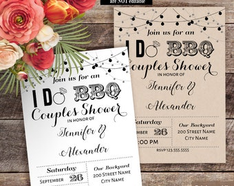 Printable I DO BBQ Couples Shower invitation, Wedding templates, Wedding shower invite, Instant download self editable pdf W310-659
