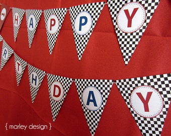 Race Car Party Printable Happy Birthday Banner Instant Download
