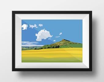 Roseberry Topping, Digital Art Landscape Illustration Print, FREE UK Delivery