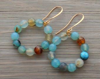 Blue and Gold Hoop Earrings - Agate Earrings - Boho Beaded Earrings - Blue Hoop Earrings - Beaded Hoop Earrings - Blue Agate Earrings -