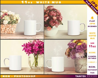 Coffee Mug 11oz | Non-Photoshop | Styled JPG Scenes 11-C1 | White Mug on a table | Flowers | Wood table