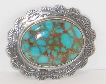 Vintage Native American Turquoise Brooch Pendant, Jewelry