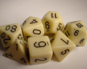 Ivory/Black Opaque Polyhedral 7-Die Set - CHX25400 - Chessex