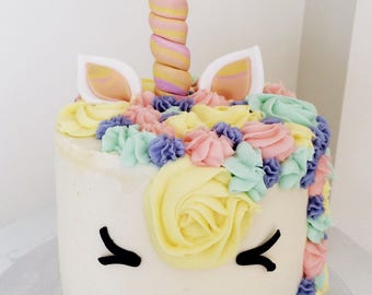 Rainbow Unicorn cake topper set