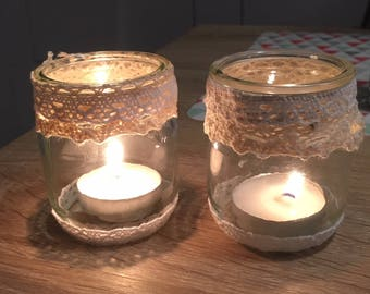 Glass candle and romantic lace rustic wedding