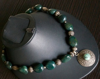 Magnificent Green Agate Silver Necklace