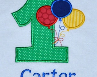 Birthday Party Balloons Outfit, Personalized First Birthday Boy Balloons Body Suit or Shirt, 1st Birthday Cake Smash Party Theme Ideas