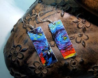 Van Gogh Style Upcycled Tin Lightweight Earrings 925 Sterling Silver Ear Wires Boho Hippy Art Lover Wearable Art Boho Hippy Unusual Gift