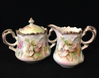 Lefton Creamer and Sugar Bowl Set~  Vintage China, Hand Painted, Pastel, To A Wild Rose, Shabby Cottage Chic Kitchen Decor, Tea Party