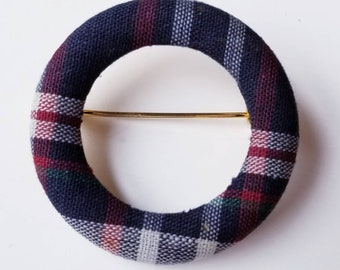 Vintage Madras Circle Brooch - Blue and Red Plaid - Collegiate Pin