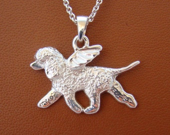 Sterling Silver Irish Water Spaniel Angel Pendant