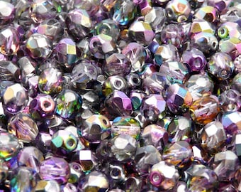 50pcs Czech Fire-Polished Faceted Glass Beads Round 6mm Magic Violet-Grey (6FP017)