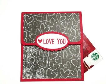 Valentines Day Gift Card Holder Chalkboard Money Holder Red Black Valentine Gift For Her LOVE YOU Card Holder Envelope Anniversary Card