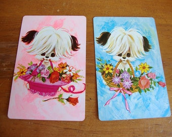 2 Decks of Plastic Coated Puppy Dog Euchre Playing Cards by Stancraft