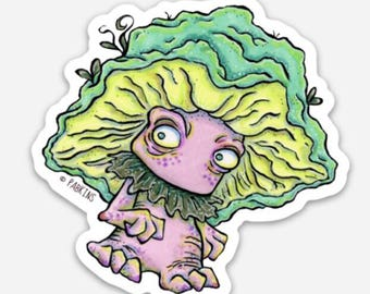 Mushroom Monster Mushi Inktober Goblin - Vinyl Sticker of original illustration