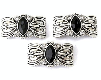 3 silver and black 2 hole slider beads, Art Deco antiqued silver, black marquis and crystal two hole beads, double hole sliders, 30mm x 16mm
