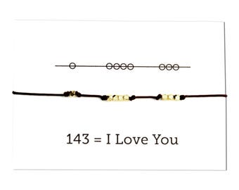 I Love You  Jewelry Secret Code Bracelet, Cord Friendship Bracelet, Gift for Her, bridesmaid gift,  Chocolate Color