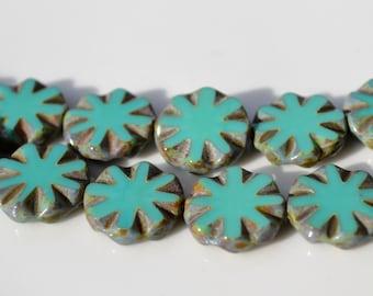 14mm Turquoise Flower Coin Czech Glass Beads   6