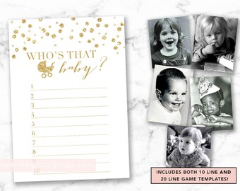 Guess Who's that baby printable, Baby photo picture shower game, gold confetti, gold gender neutral shower game, INSTANT DOWNLOAD 008