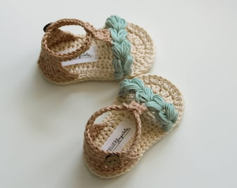 KORA Boho Baby Sandals, Natural Baby Shoes, Mint Beige Cream, Crochet Baby Shoes, Made to Order in Sizes: 0-3,3-6,6-9 months