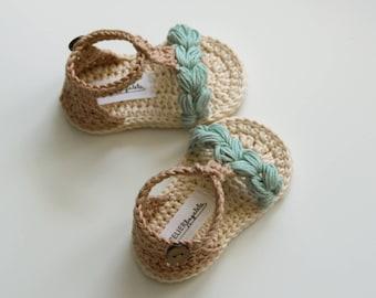 KORA Boho sandalias de bebé, zapatos de bebé Natural, menta Beige crema, zapatos de bebé del ganchillo, hecho a pedido en tamaños: 0-3, 3-6, 6-9 meses